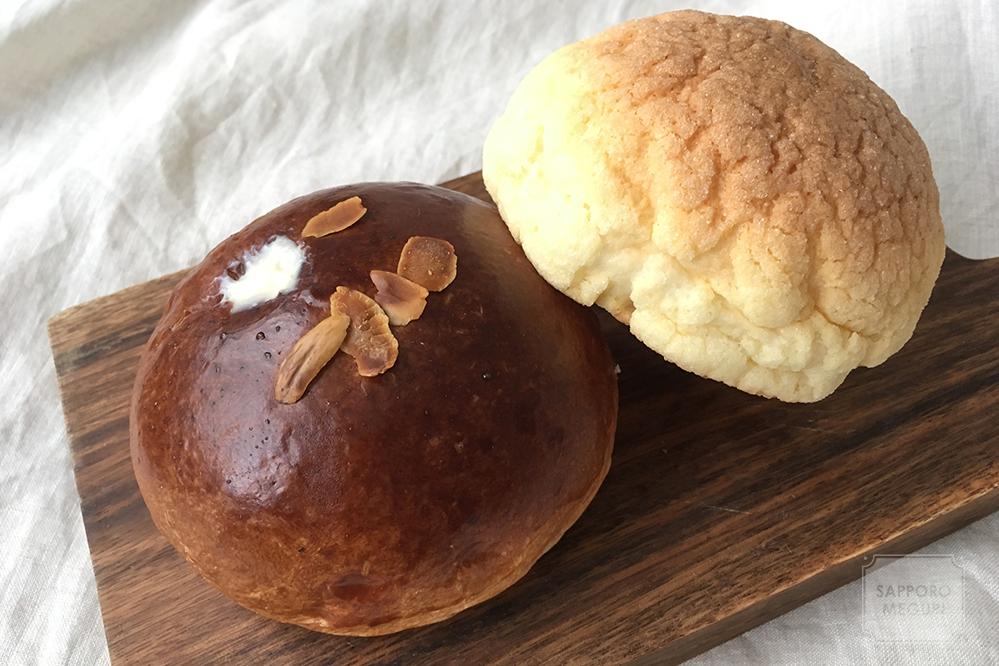 ぱん工房ひだまりのクリームパンとメロンパン